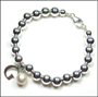 """Sterling Silver 6 mm Bead Bracelet with Pearl and Initial(7"""" - 7.5"""")"""