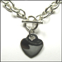 """Heart  Charm Tag Toggle Silver Link Necklace (Heavy 18"""")"""