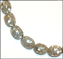 """Silver Gray Mother of Pearl Large Patched Bead Necklace (Plus Size 18"""")"""