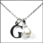 Silver Initial Pendant Necklace with Pearl Drop