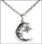 Man In The Moon and Hanging Star  Silver Necklace