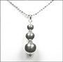 Graduated Ball Bead Polished Silver Necklace