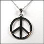 Large Peace Sign Polished Silver Necklace