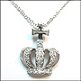 Crown with Cross Pendant Silver Necklace