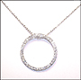 Large Open Circle Pendant Silver Necklace