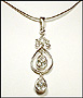 Double Water Drop Chandelier Silver Necklace