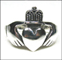 Men's Irish Claddagh Heart  Silver Ring Plus Size 14, 15