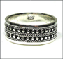 Men's Beaded Silver Wide Band Ring Plus Size 14