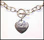 """Heart Charm Toggle Silver Link Necklace (Medium 18"""")"""