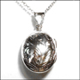 Etched Oval Locket Silver Necklace