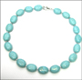 Turquoise Oval Beads Necklace with Silver Beads
