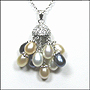 Bouquet of Multi-color Pearls  Necklace in Silver