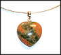 Heart Shaped Unakite w/ Round Omega Necklace
