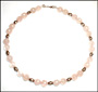 """Rose Quartz Necklace with Balinese Silver Beads 16"""""""