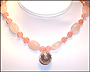 Rose Quartz Necklace with Bali Silver Ball Locket