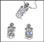 Oval CZ Earrings and Necklace in Marcasite Silver