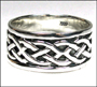 Men's Celtic Lover's Knot Silver Wide Band Ring Plus Size 10, 11, 12, 13