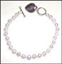 "Freshwater Pearl Bracelet with Sterling Silver Heart Charm 7""-7.5"""