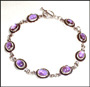 Oval Faceted Amethyst Link Bracelet on Silver