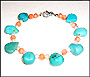 Turquoise  Pearl and Coral Bracelet