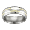 Rounded Titanium Wedding Band with 18K Gold