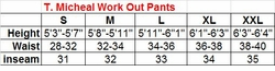 T. Micheal Workout Pants Size Chart