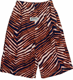 Zubaz Shorts: Navy/Orange Zubaz Zebra Shorts