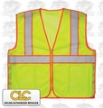 "Custom Leathercraft  Safety Vest ANSI Class 2 Lime-Yellow ""ALL"""