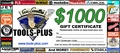 Tools Plus  $1,000 Gift Certificate