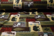 Moose and Bear Camping Polar Fleece Fabric #NV-231
