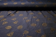 Antique Gold Navy Print Fabric #NV-264