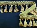 "Italian 2 7/8"" Multi Olive Green Fancy Braid Tassel Fringe Trim LT-83"