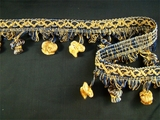 "Italian 2"" Navy Gold Fancy Braid Onion Tassel Fringe Trim LT-87"