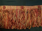 "Italian 5 3/4"" Exclusive Dark Red Gold Fancy Chainette Fringe LT-117"
