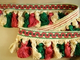 "Italian 2 3/4"" Buttercream Mauve Green Fancy Tassel Fringe Trim LT-243"