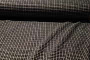 Black White Designer Check Stretch Crepe Fabric #NV-428