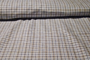 Light Blue Off White Denim Blue Taupe Pure Cotton Woven Plaid Fabric #NV-395