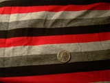 Red Black Grey Striped Stretch Knit Fabric # NV-110