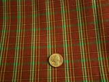 Rustic Brown, Green, Gold Plaid Fabric # NV-648