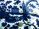 Blue, Black, White Fine Cotton Printed Fabric # K-440