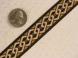 Muted Gold Chain Pattern Jacquard Ribbon #-WR-61