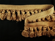 "Italian 2 3/4"" Tan Brushed Tassel Fringe Trim LT-44"