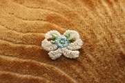 White Bow with Tiny Light Blue Flower and Leaves Applique # appliques-1044