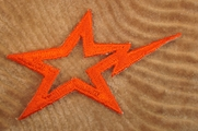 Deep Orange Electric Star Iron On Applique # appliques-1076