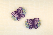 Purple Butterfly Blue Flowers Iron-On Applique #appliques-1