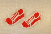 Red White Sneakers Shoes Vintage Applique #appliques-22