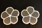 Off-White Sheer Netting 5 Petals Flower Vintage Applique #appliques-56