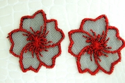 Red Black Sheer Netting Floral Design Vintage Applique #appliques-62