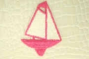 Pink Sailboat with Off-White Sail Applique #appliques-1005