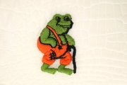 Orange Green Toad with Black Cane Applique #appliques-1016